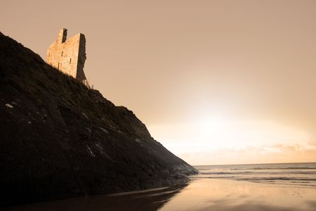 co  kerry: a view of the beach and castle in ballybunion co kerry ireland