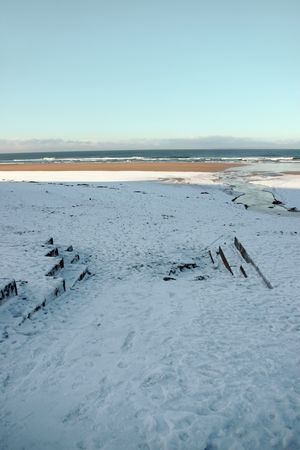 co  kerry: an icy beach promenade view in ballybunion co kerry ireland
