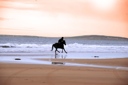 silhouette of a horse and rider galloping on ballybunion beach at sunset in kerry ireland Stock Photo