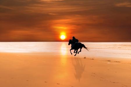 silueta ciclista: silueta de un caballo y jinete galopando en playa de ballybunion al atardecer en Irlanda de kerry