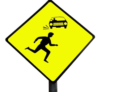 warning against a white background: a warning sign about cars and pedestrians against a white background Stock Photo