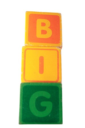 childrens toy letter building blocks against a white background spelling big Stock Photo - 7478013