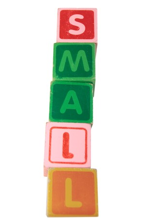 childrens toy letter building blocks against a white background spelling small Stock Photo - 7478012
