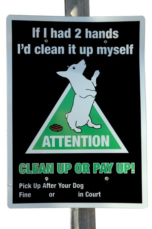 keep your hands: warning sign on dog littering isolated on white