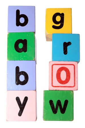 assorted childrens toy letter building blocks against a white background that spell baby grow photo