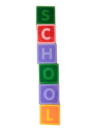 assorted childrens toy letter building blocks against a white background that spell school  photo