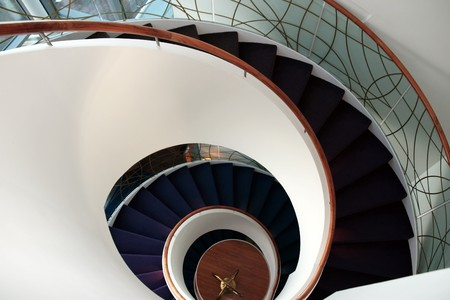 a view down a spiral staircase with copyspace  Stock Photo