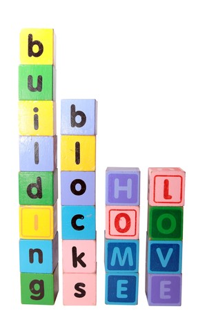 toy letters that spell home love building blocks with white background   photo