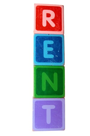 toy letters that spell rent with white background  photo