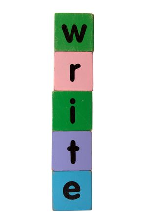 toy letters that spell write against a white background photo