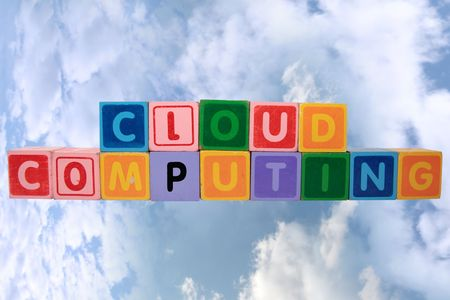 cloudshape: toy letters that spell cloud computing against a cloudy background  Stock Photo