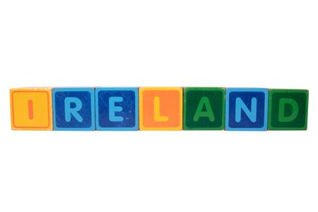 toy letters that spell ireland against a white background Stock Photo - 7907414