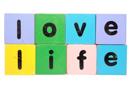 enriched: toy letters that spell love life against a white background