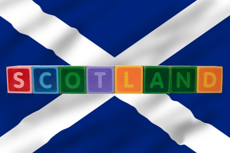 toy letters that spell scotland against a flag background  photo