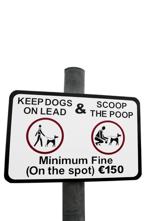 warning sign for all dog owners to scoop the poop with a clipping path photo
