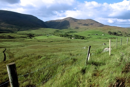 scenic view in kerry ireland of rural homes dotted in the green countryside Stock Photo - 10574654