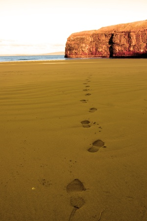 footprints on an empty beach on a beautiful winters day photo