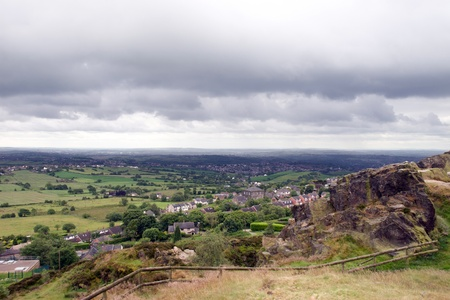 view from mow cop castle in the Biddulph valley in the county of Staffordshire in England photo