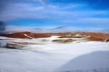 a snow covered with stormy sky links golf course in ireland in winter Stock Photo - 11154396