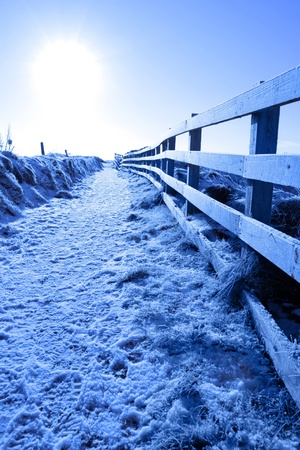 frosty blue winters view at ballybunion cliffside walk with bright sun and fence photo