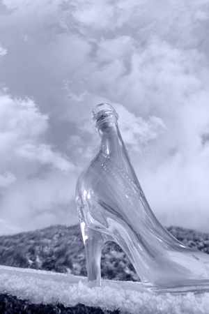 a glass slipper on a snow covered surface with a cloudy sky background in black and white photo
