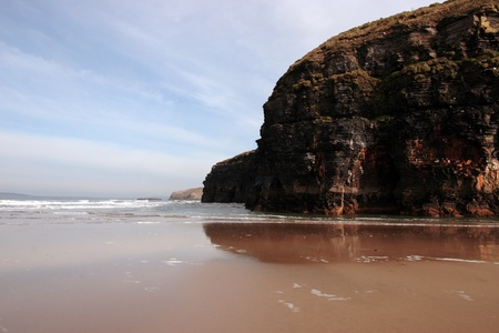 co kerry: a view of the beach cliffs in ballybunion co kerry ireland Stock Photo