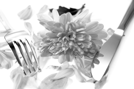 silver fork and knife isolated with dahlia and rose petals for concept on romantic dining in black and white Stock Photo