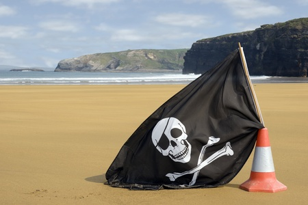 sandy golden beach with jolly roger flag in ballybunion county Kerry Ireland Stock Photo - 12893741