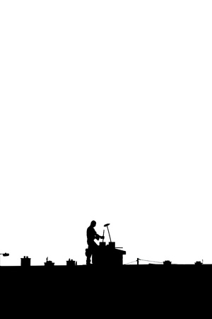 silhouette of a chimney sweep at work on the rooftop of a housing estate on white background Stock Photo