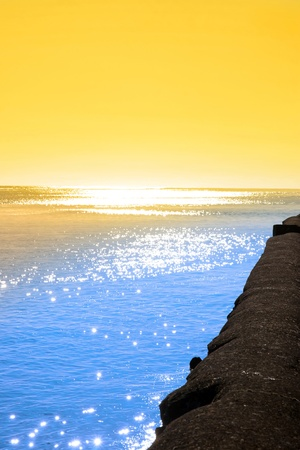 youghal: beautiful sunset from the sea wall in Youghal county Cork, Ireland Stock Photo