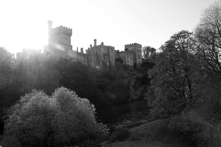 blackwater: Lismore castle over looking the beautiful blackwater river in county Waterford Ireland in black and white