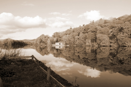 blackwater: boat house beside the calm river blackwater in county Waterford Ireland Stock Photo