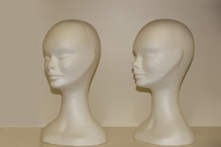 two female pollystyrene female modeling heads on a shelf  photo