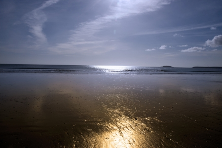 youghal: sunshine over the golden beach in Youghal county Cork Ireland on a summers day