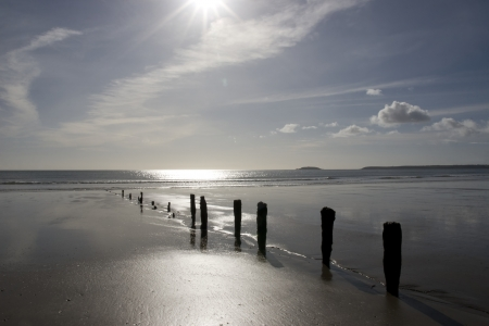 sunshine over the beach breakers in Youghal county Cork Ireland on a summers day Stock Photo - 17589019