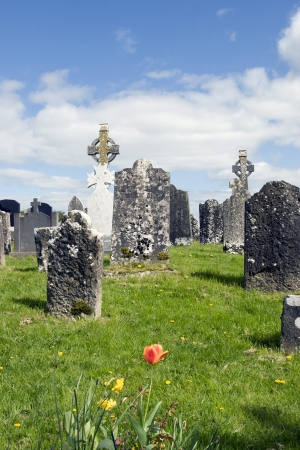 unmarked: old ancient Celtic graveyard with unmarked gravestones and flowers in Ireland Stock Photo