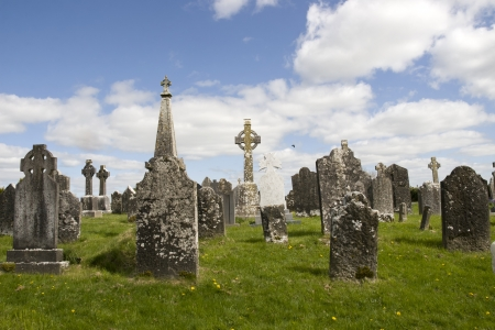 old ancient Celtic graveyard with unmarked gravestones in Ireland photo