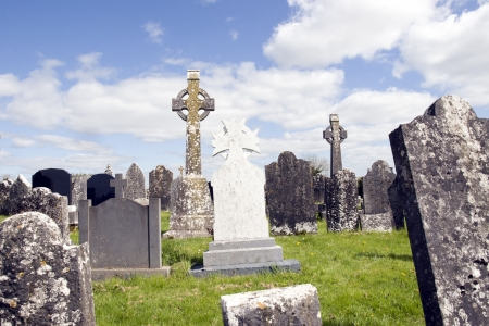 unmarked: old ancient Celtic graveyard with unmarked gravestones in Ireland