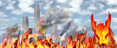 damnation: a view of a city engulfed in flames and destruction as the number of the Beast is on us, as the world ends