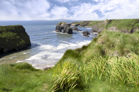 ballybunion: a view from the cliffs in Ballybunion county Kerry Ireland of the Virgin rock and coast  Stock Photo