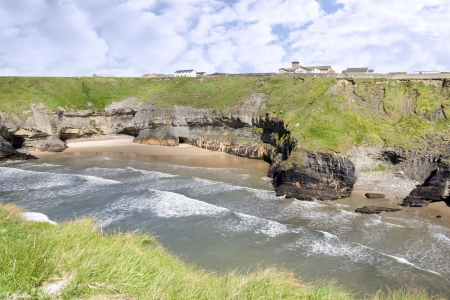 nuns: a view from the cliffs in Ballybunion county Kerry Ireland of the nuns beach and convent Stock Photo