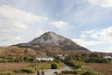 view of Dunlewey with Errigal mountains and countryside in county Donegal, Ireland photo