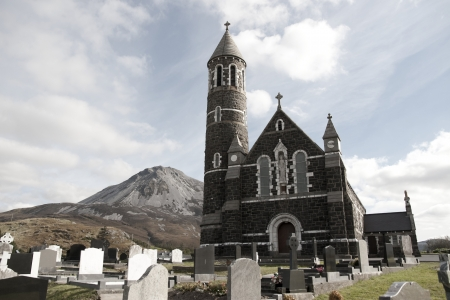 Church of the Sacred Heart, Dunlewey with Errigal mountains in Donegal Ireland photo