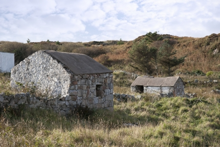 old rustic stone buildings in county Donegal Ireland photo