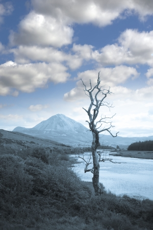 view of the Errigal mountains and countryside in county Donegal, Ireland in blue tone photo