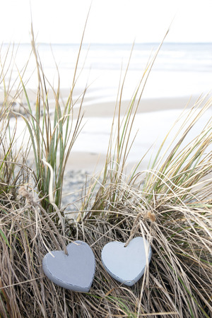 string together: two blue wooden love heart in dunes on an Irish beach in summer Stock Photo