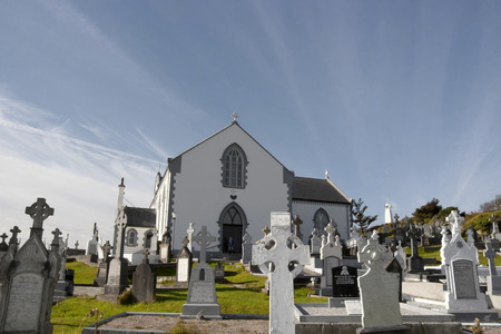 old Irish church and graveyard in Kincasslagh county Donegal Ireland
