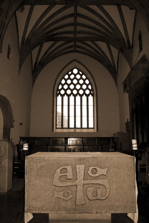 alter: alter at the chapel of Holycross abbey county Tipperary Ireland in sepia Editorial
