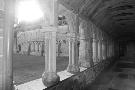county tipperary: arches in the old churchyard at Holycross abbey in county Tipperary Ireland in black and white