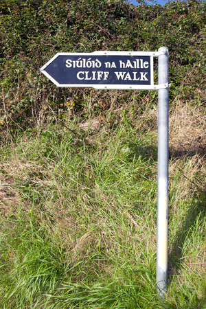 cliff walk sign beside the cliffs in Ballybunion county Kerry Ireland in English and Gaelic photo